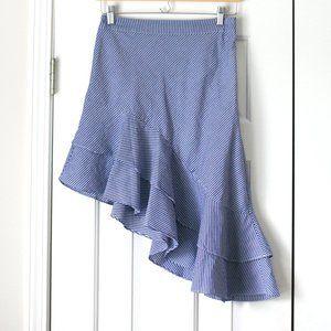 A New Day striped asymmetrical ruffle skirt